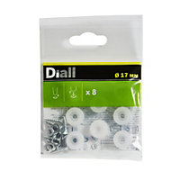 Diall White Plastic End, (Dia)17mm Pack of 8