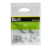 Diall White Plastic End, (Dia)22mm Pack of 4