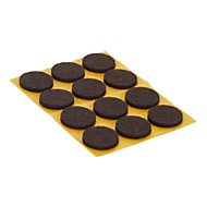 Brown Felt Protection pad (Dia)22mm, Pack of 12