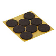 Brown Felt Protection pad (Dia)25mm, Pack of 8