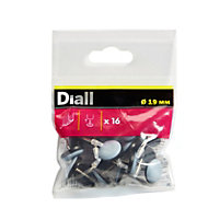 Diall Black & grey PTFE & nail Nail-in glide, (Dia)19mm Pack of 16