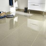 Modenia Beige Travertine effect Porcelain Floor tile, Pack of 3, (L)600mm (W)600mm