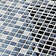 Milaino Black & grey Glass & metal Mosaic tile, (L)300mm (W)300mm