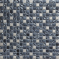 Milaino Black & grey Glass & metal Mosaic tile, (L)300mm (W)300mm