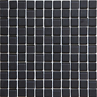 Genovia Black & grey Glass Mosaic tile, (L)300mm (W)300mm