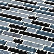 Bolognai Black & blue Glass & marble Mosaic tile, (L)300mm (W)300mm