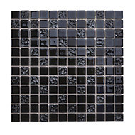 Flourencia Black Glass Mosaic tile, (L)300mm (W)300mm