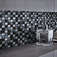 Barya Black & blue Glass & marble Mosaic tile, (L)300mm (W)300mm