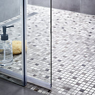 Catane Brown & grey Marble Mosaic tile, (L)320mm (W)320mm