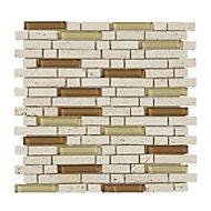 Cagliari Beige & brown Glass & stone Mosaic tile, (L)300mm (W)300mm