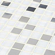 Prate Grey & white Glass & metal Mosaic tile, (L)300mm (W)300mm