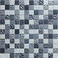 Calabria Grey & white Glass Mosaic tile, (L)300mm (W)300mm