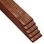 Madeira Value Brown Deck board (T)24mm (W)120mm (L)2400mm, Pack of 5