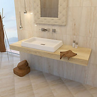 Bali Light beige Matt Stone effect Ceramic Wall tile, Pack of 8, (L)500mm (W)250mm