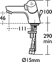 Ideal Standard Alto Chrome effect Contemporary Basin mono mixer tap