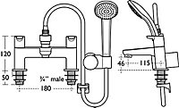 Ideal Standard Concept Chrome finish Bath shower mixer tap