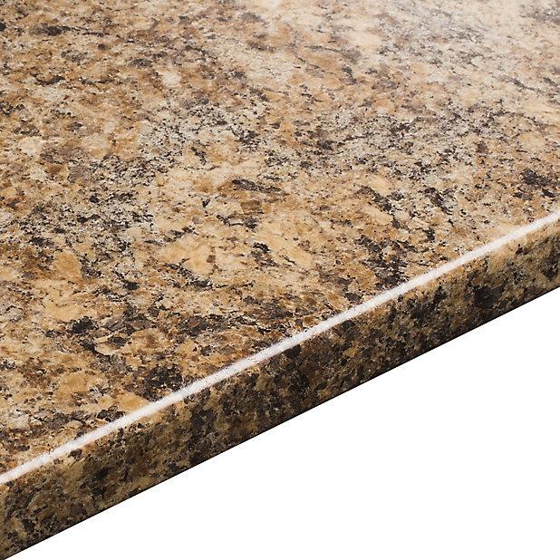 38mm Butterum Etched Brown Laminate Round Edge Kitchen Worktop L 3050mm Diy At B Q