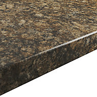 38mm Umbria Gloss Brown Stone effect Chipboard & laminate Post-formed Kitchen Breakfast bar, (L)2000mm