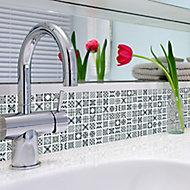 3D spiro Grey & white Glass 3x3 Mosaic tile sheet, (L)300mm (W)300mm
