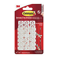 3M Command Decorating White Adhesive clip, Pack of 20