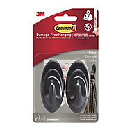 3M Command Grey Slate effect Plastic Hook (H)85mm (W)98mm (Max. Weight)1.3kg, Pack of 2