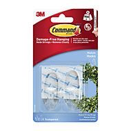 3M Command Medium Clear Hook (Holds)0.9kg, Pack of 2