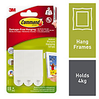 3M Command Medium White Picture hanging Adhesive strip (Holds)4kg, Pack of 3