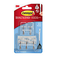 3M Command Modern Transparent Plastic Small Single Wire hook (H)41mm (W)19mm (Max. Weight)0.23kg, Pack of 5