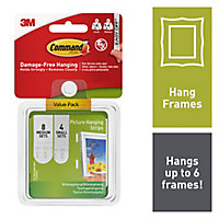 3M Command White Foam Picture hanging Adhesive strip (H)70mm (W)98mm, Pack of 12