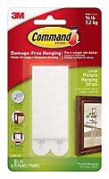 3M Command White Foam Picture hanging Adhesive strip (H)93mm (W)98mm (Max. Weight)7.2kg, Pack of 4