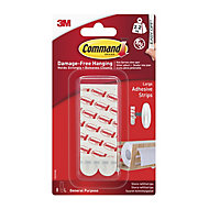 3M Command White Plastic Large Single Adhesive strip (H)92.08mm (W)19mm (Max. Weight)4.4kg, Set of 8