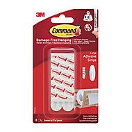 3M Command White Plastic Large Single Adhesive strip, Set of 8
