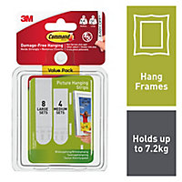 3M Command White Plastic Medium & large Single Picture hanging Adhesive strip (Max. Weight)7.2kg, Set of 24