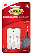 3M Command White Plastic Medium Single Toggle hooks (H)55.02mm (W)22mm (Max. Weight)0.9kg, Pack of 2