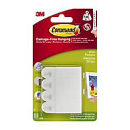 3M Command White Plastic Picture hanging Adhesive strip (W)16mm (Max. Weight)0.45kg, Pack of 4