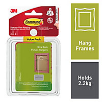 3M Command White Plastic Picture hanging Canvas hanger (H)85mm (W)100mm (Max. Weight)2.2kg, Pack of 3