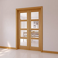 4 panel 4 Lite Glazed Shaker Oak veneer Internal French Door set, (H)2030mm (W)1230mm