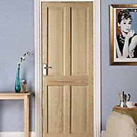 4 panel Clear pine LH & RH Internal Fire Door, (H)2040mm (W)826mm