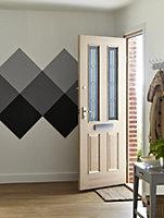 4 panel Diamond bevel Glazed Raised moulding White oak veneer LH & RH External Front Door, (H)1981mm (W)762mm