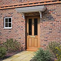 4 panel Diamond bevel Glazed Raised moulding White oak veneer LH & RH External Front Door set, (H)2074mm (W)932mm