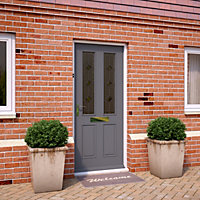 4 panel Frosted Glazed Primed White LH & RH External Front Door, (H)1981mm (W)762mm