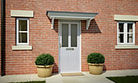 4 panel Frosted Glazed Primed White LH & RH External Front Door, (H)1981mm (W)838mm
