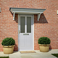 4 panel Frosted Glazed Primed White LH & RH External Front Door, (H)2032mm (W)813mm