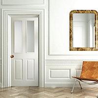 4 panel Frosted Glazed Primed White Woodgrain effect LH & RH Internal Door, (H)1981mm (W)762mm