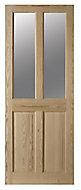 4 panel Glazed Clear pine LH & RH Internal Door, (H)2040mm (W)826mm