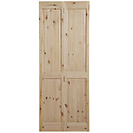 4 panel Knotty pine Internal Bi-fold Door set, (H)1981mm (W)686mm