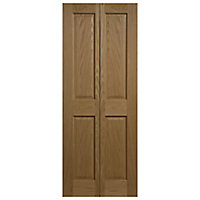 4 panel Oak veneer Internal Bi-fold Door set, (H)1945mm (W)753mm