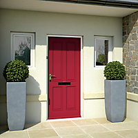 4 panel Primed White LH & RH External Front Door, (H)1981mm (W)762mm