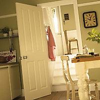 4 panel Primed White Woodgrain effect LH & RH Internal Door, (H)1981mm (W)610mm