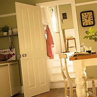 4 panel Primed White Woodgrain effect LH & RH Internal Fire Door, (H)2040mm (W)726mm